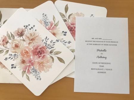 DIY Last Minute Wedding Invitation Cards - invitation card insert next to floral blank cards