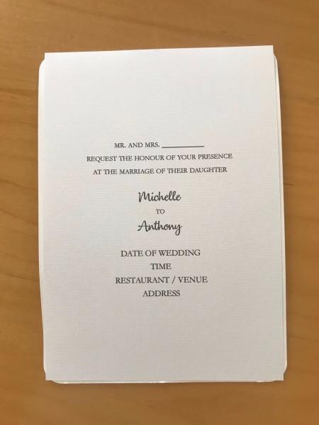 DIY Last Minute Wedding Invitation Cards - sample invitation card