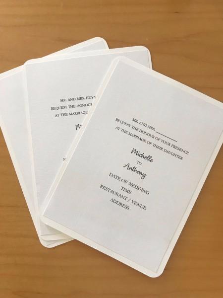 DIY Last Minute Wedding Invitation Cards - invitations glued to the blank cards