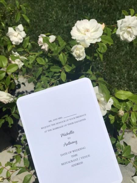 DIY Last Minute Wedding Invitation Cards - finished sample invitation