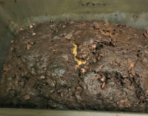 Chocolate Zucchini Bread in bread pan