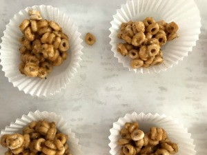 Peanut Butter Cereal Snacks in paper liners