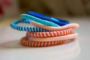 A stack of colorful hair ties.