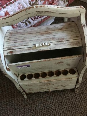 Identifying a Desk or Sewing Caddy - antique finished roll top small caddy with storage and 8 holes on the bottom front