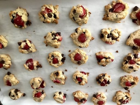 Bite Sized Strawberry Chocolate Chip Cookies