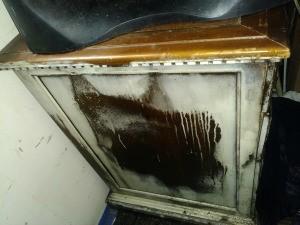 Isopropyl Alcohol Damaged Finish on a Desk - white finish damaged