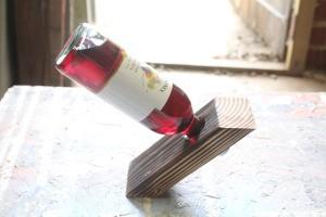 DYI Wine Bottle Holder - bottle inserted in the holder