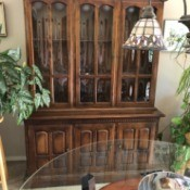 Value of a Vintage Ethan Allen Hutch/Buffet Cabinet - glass fronted buffet with hutch