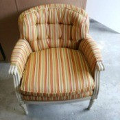 Value of a Pair of Fairfield Chairs - vintage orange, tan, and cream striped upholstered chair