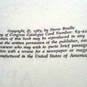 Value of a 1963 English Language Edition of Planet of the Apes - closeup of copyright information
