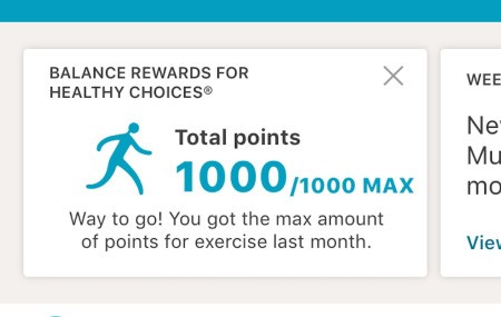 Points awarded for making healthy choices in an app.