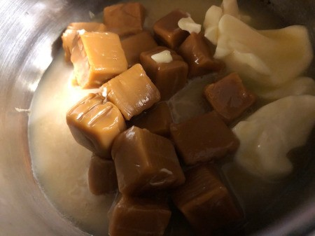 butter, water & caramel in a saucepan