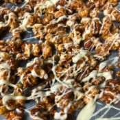 Salted Caramel Nut White Chocolate Popcorn on tray