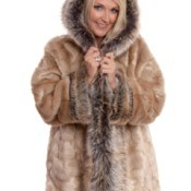 A woman wearing a faux fur jacket.