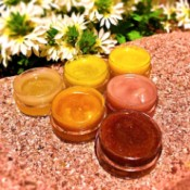 How to Make Natural Tinted Lip Balm - open containers of 6 shades of lip balm
