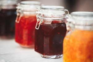 Jars of homemade jam.