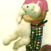 Identifying a Vintage Stuffed Unicorn - child holding a stuffed unicorn from the 1980s