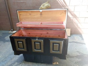 Value of a Lane Cedar Chest - in process of stripping green paint off exterior