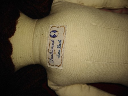Value of a Sara Beck Cloth Doll - cloth label sewn on the back