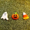 DIY Puffy Stickers from Hot Glue - ghost, Jack 'o Lantern,  and candy corn puffy stickers