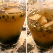 Boba added to Passionfruit Green Tea with