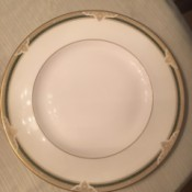 Selling Royal Doulton China - plate with gold filigree and green line around the edge and a thin gold line around the inside serving area