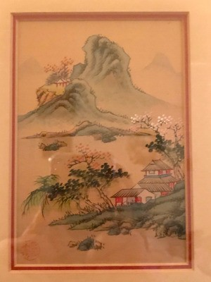 Identifying Thrift Store Asian Paintings - houses on lake shore with stylized mountains in the background
