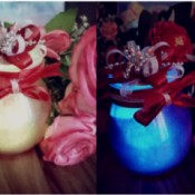 Color Tinted Glass Jars - colored jars decorated with ribbons and bows
