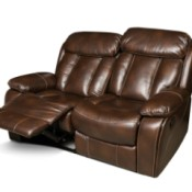Brown leather reclining sofa.