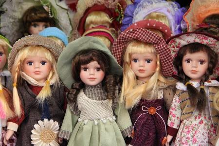 an array of porcelain dolls