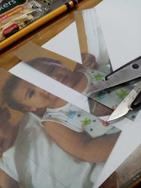 Making a Zigzag 3D Photo - cut the photos along the lines, keep the two photos separate