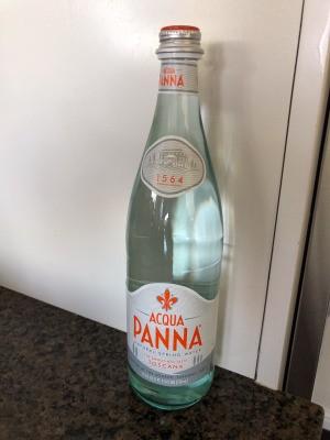 A bottle of Acqua Panna water.