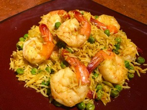 Spanish Style Shrimp and Rice on plate