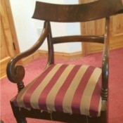 Value of a Carver Back Chair - armed chair with striped upholstery