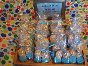 Little Peanut Baby Shower Favors - tray with bags of cookies