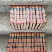Value of Universal Standard Encyclopedias - volumes on grey carpet stairs