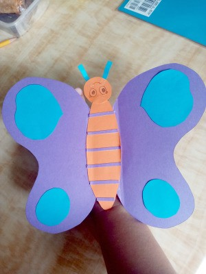 Making a Paper Butterfly Puppet - finished butterfly