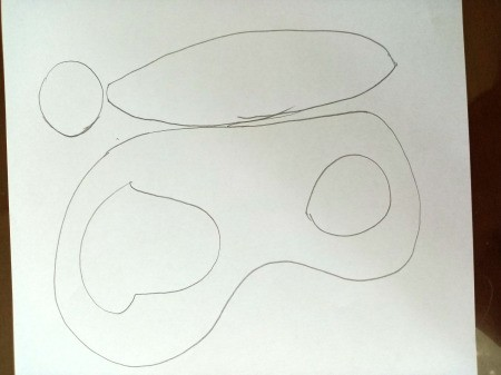 Making a Paper Butterfly Puppet - drawing of butterfly body, and wings