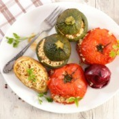A plate of stuffed vegetables.