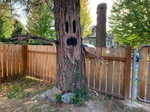 Haunted tree decoration made from cardboard.