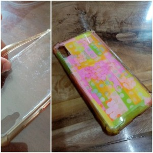 Fixing Jelly Phone Case with Sticky Notes - finished case next to original one