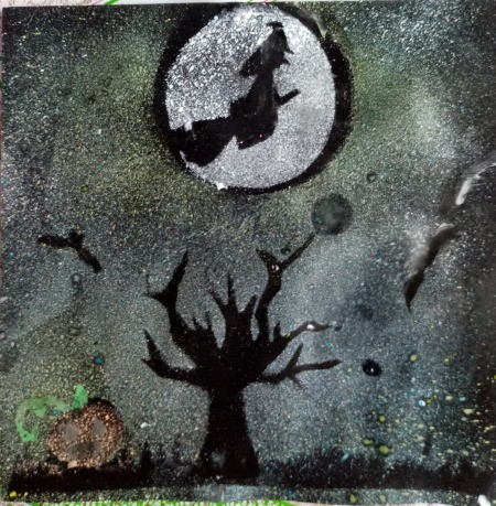 Halloween Toothbrush Spray Painting - finished artwork