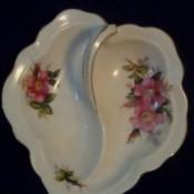 Value of Royal Albert Bone China Dish - heart shaped china dish with handle and wild rose pattern