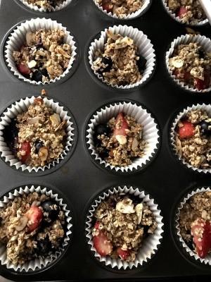Strawberry & Blueberry Oat Muffins