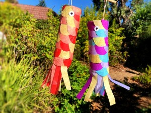 DIY Japanese Carp Streamer - two finished carp streamers hanging outside