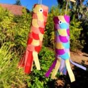 DIY Japanese Carp Streamer - two finished carp streamers hanging outside
