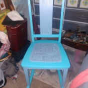 Value of a Webster Rocking Chair - cane seated rocking chair painted a light blue