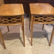Value of Mersman End Tables - light wood tables with open grill work on front