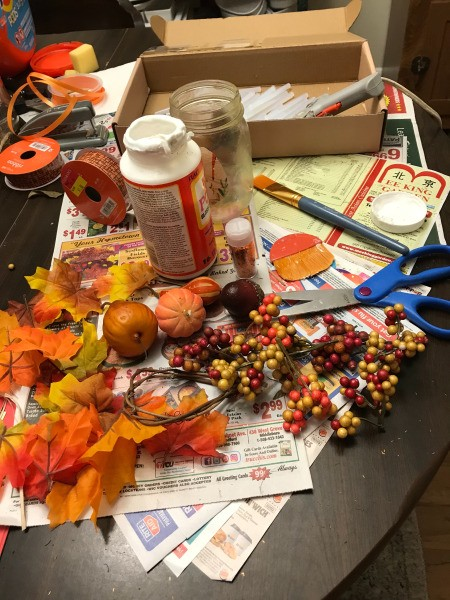 Fall Decorated Tea Light Jars - supplies