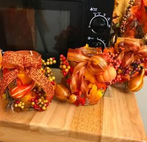 Fall Decorated Tea Light Jars - three decorated jars